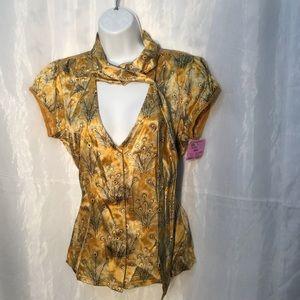 Free People 💯 silk button down blouse